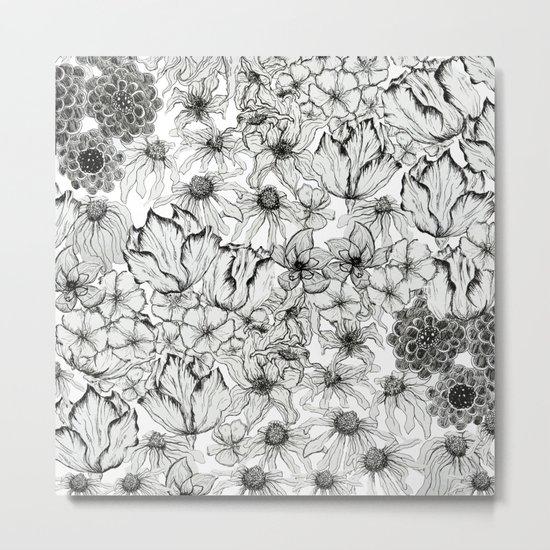 Ink Flowers Metal Print