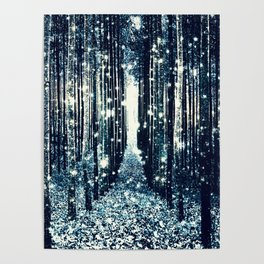 Magical Forest Teal Gray Elegance Poster
