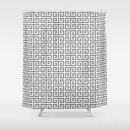 Gray and White Greek Key Pattern Shower Curtain