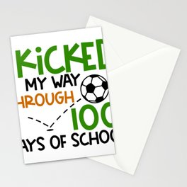 Best 100th Day of School Soccer I Kicked My Way Through 100 Days Stationery Cards