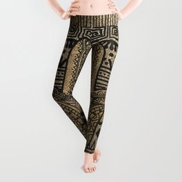 Native Pattern Golden Hamsa Hand Leggings