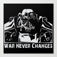 fallout 3 Canvas Prints featuring Fallout 3 War Never Changes by Krakenspirit