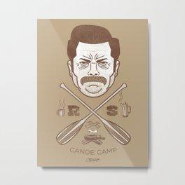 Ron Swanson Canoe Camp (dirty brown variant) Metal Print