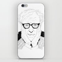 woody allen iPhone & iPod Skins featuring Woody Allen by lena kuzina