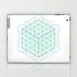 Sacred Geometry - glowing energy lines - cube and flowers Laptop & iPad Skin