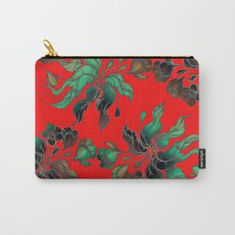 Vintage floral seamless pattern with hand drawn flowering crocus on the red background Carry-All Pouch