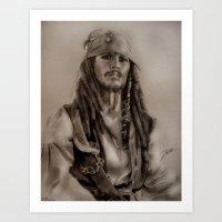 jack sparrow Art Prints featuring Captain Jack Sparrow by Svartrev