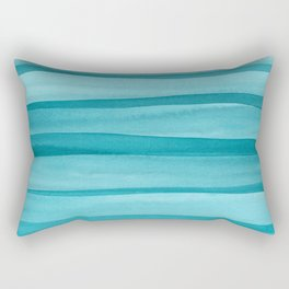 Teal Watercolor Lines Pattern Rectangular Pillow