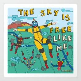 Skydive in the sky Art Print