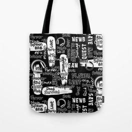 Gamer Lingo-Black and White Tote Bag
