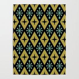 Mid Century Modern Atomic Triangle Pattern 110 Poster