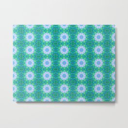 Turquoise Mosaic flowers Metal Print