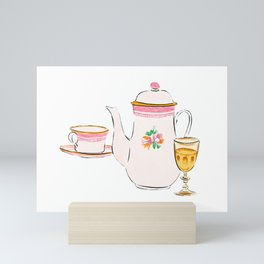 Watercolor Illustration of French porcelain teapot, teacup and a glass of wine Mini Art Print