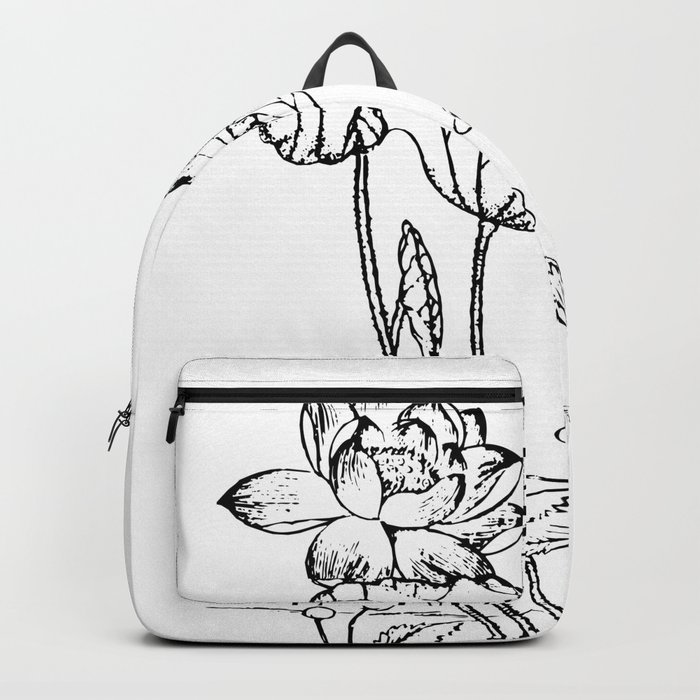 Chinese Ink Brush Painting Floral Chinoiserie Art Backpack