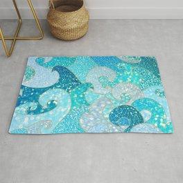 Mermaid Waves And Sea Faux Glitter - Sun Light Over The Ocean Rug