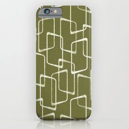 Avocado Green Retro Geometric Pattern iPhone Case