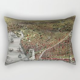 Vintage 19th Century Currier & Ives Brooklyn Lithograph Wall Art in color Rectangular Pillow