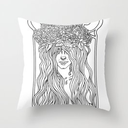 She. Art Nouveau. Throw Pillow