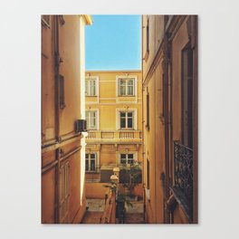 Back alley on the streets of Monaco Canvas Print