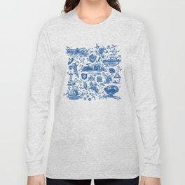 "Zelda ""Hero of Time"" Toile Pattern - Zora's Sapphire Long Sleeve T-shirt"