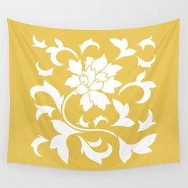 Oriental Flower - Mustard Yellow Wall Tapestry