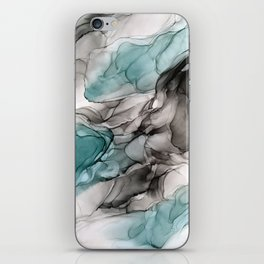 Smoky Grays and Green Abstract Flow iPhone Skin