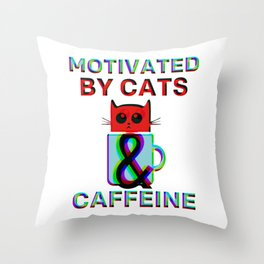 Motivated By Cats & Caffeine Throw Pillow