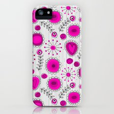 Whimsical flowers in pink and white iPhone (5, 5s) Slim Case