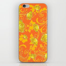 AWESOME CUMIN ORANGE & YELLOW ROSE SCROLLS  ART iPhone Skin