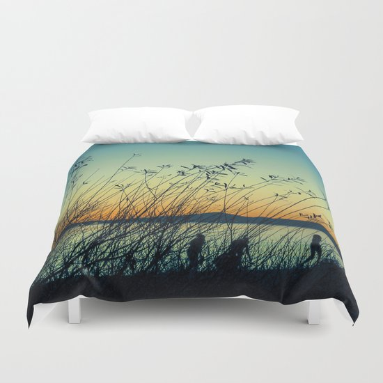 Kids at Dusk Duvet Cover
