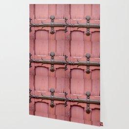 Red Door Architectural Detail in Paris Wallpaper