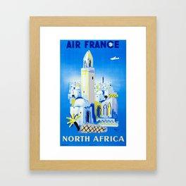 Marrakesh , North Africa - Vintage Air France Travel Poster Framed Art Print