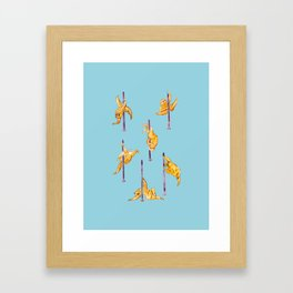 Sloth Pole Dancing Watercolor Framed Art Print