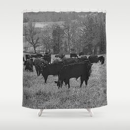 Black & White Cattle Grazing Pencil Drawing Photo Shower Curtain