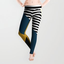 Striped, Abstract, Geometric Art, Blue, Yellow and Black Leggings