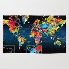 World Map Black - 2 Rug