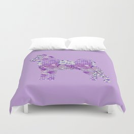 Akita Inu Dog Purple Lilac Lavender Turquoise Pastel Pretty Floral Pattern Duvet Cover