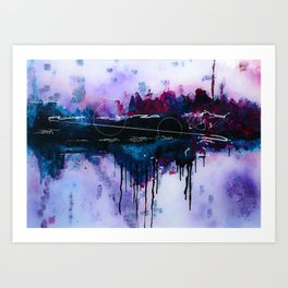 Dawn, pink and fushia black and blue acrylic abstract artwork Art Print