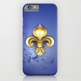 Gold Fleur De Lis on a Blue Background iPhone Case