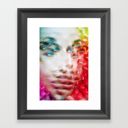 Infinite Infinity Visions - Lush Vivid Multitudes of her Eyes and Face Framed Art Print