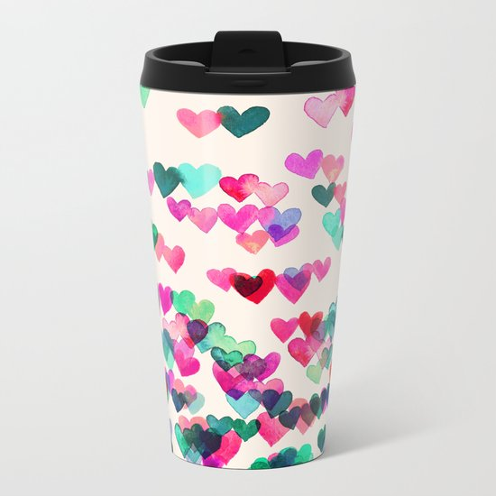 Heart Connections II - watercolor painting (color variation) Metal Travel Mug