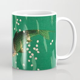 Vintage Japanese Woodblock Print Asian Art Koi Pond Fish Turquoise Green Water Cherry Blossom Coffee Mug