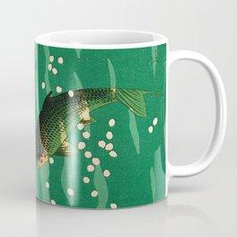 Vintage Japanese Woodblock Print Asian Art Koi Pond Fish Turquoise Green Water Cherry Blossom Coffee Mug