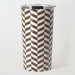 Coffee Brown Herringbone Pattern Design Travel Mug