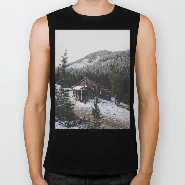 Snowy Cabin Biker Tank