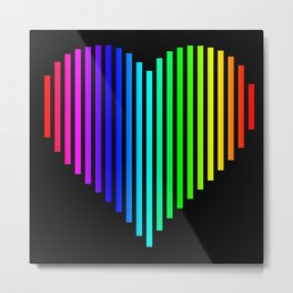 Techno Love Heart Metal Print