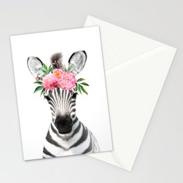 Baby Zebra with Flower Crown Stationery Cards