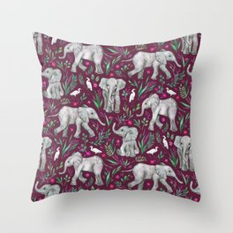 Baby Elephants and Egrets in Watercolor - burgundy red Throw Pillow