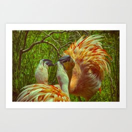 Fighting Flamingos Art Print