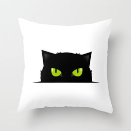 Black cat follow you Throw Pillow